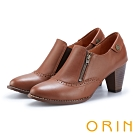 ORIN 經典復古 牛皮雕花拉鍊粗跟裸靴-棕色