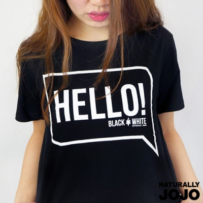 【NATURALLY JOJO】 Black & White Voice T-shirt-說嗨!HELLO! (黑)