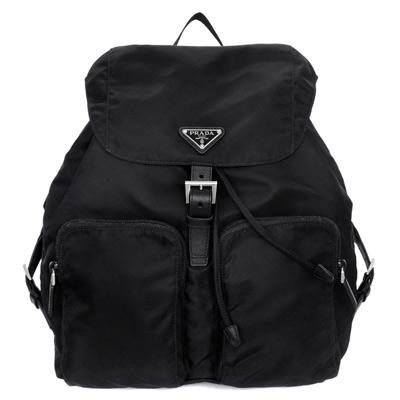 PRADA尼龍三角飾牌皮革扣式內抽繩雙口袋後背包黑色