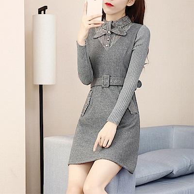 DABI 韓國風時尚氣質修身毛呢拼接長袖洋裝