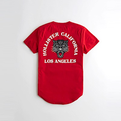 海鷗 Hollister 印刷文字豹圖樣設計短袖T恤-紅色