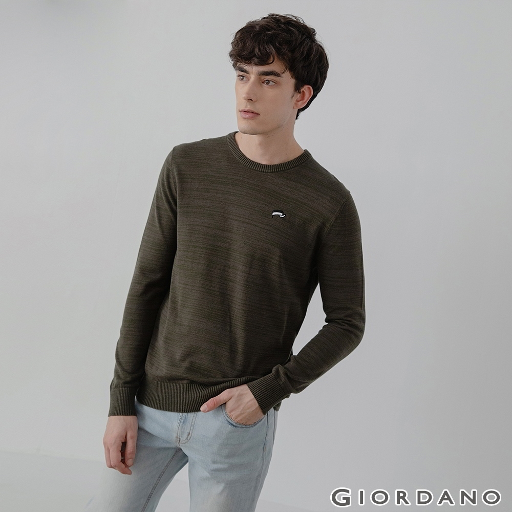GIORDANO  男裝刺繡圓領針織衫 - 05 花紗飛行綠