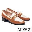 高跟鞋 MISS 21 經典俐落全真皮方頭樂福高跟鞋-白