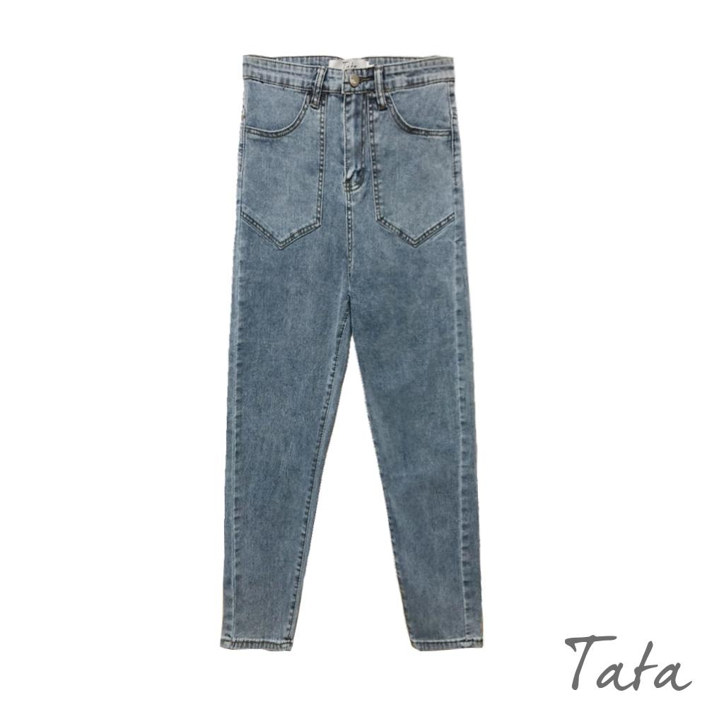大口袋造型牛仔長褲 TATA-(S/M) (藍色)