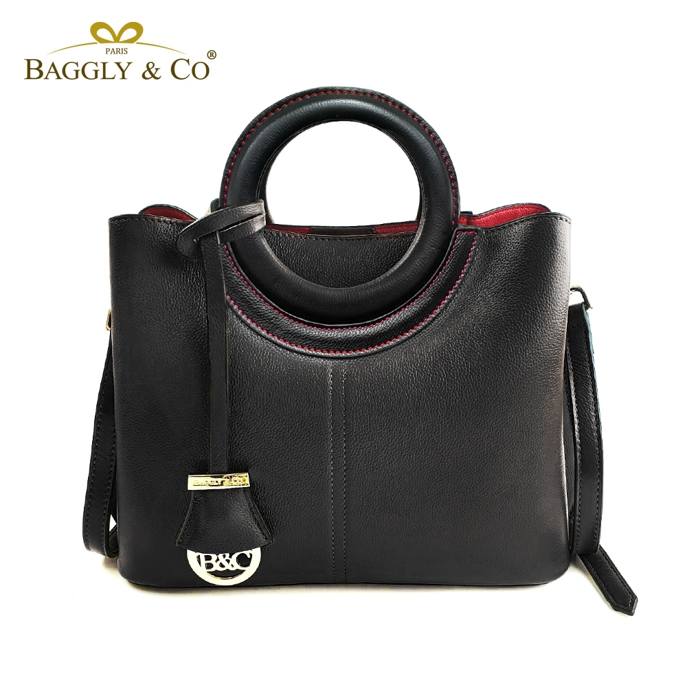 法國BAGGLY&CO質感真皮荔枝紋手工圓形提把側背包(三色)