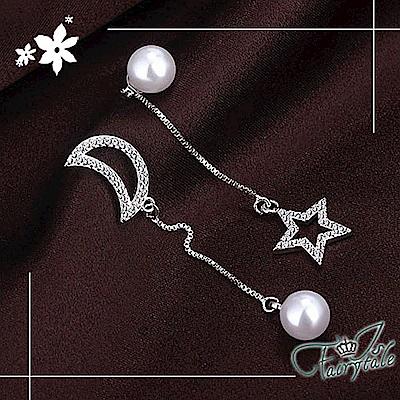 iSFairytale伊飾童話 白光星月 珍珠水鑽垂墜925銀針耳環