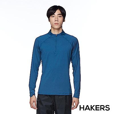 【HAKERS】男款 半開襟舒適排汗衫(陶瓷藍)