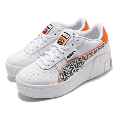 Puma 休閒鞋 Cali Wedge 運動 女鞋 塗鴉先生 簡約 舒適 球鞋 穿搭 白 橘 37421001