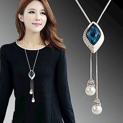 梨花HaNA 時尚菱感百搭藍寶石珍珠吊綴長項鍊