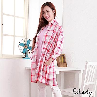 EELADY-經典長版格紋襯衫-紅