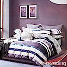 BEDDING-專櫃純棉6x7尺特大雙人薄式床包涼被四件組-樂享一族-藍