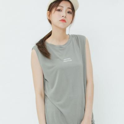 H:CONNECT 韓國品牌 女裝-簡約印字圓領背心-綠