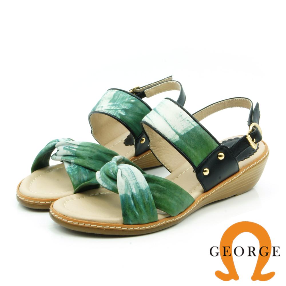 【GEORGE 喬治皮鞋】雲朵羊皮編織楔型涼鞋-綠