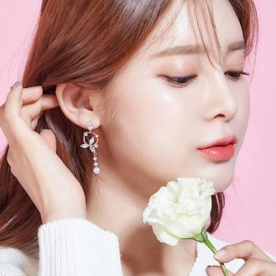 梨花HaNA  韓國925銀鋯石玫瑰金蝴蝶之翼耳環