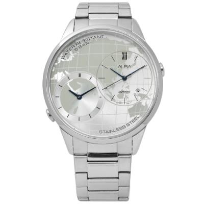 ALBA 率性遊玩世界日期藍寶石水晶玻璃不鏽鋼手錶-銀色/45mm
