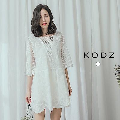 東京著衣-KODZ 溫柔細膩高級棉料鏤空造型上衣