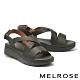 涼鞋 MELROSE 簡約低調交叉寬帶楔型涼鞋-灰 product thumbnail 1