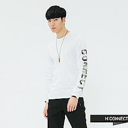H:CONNECT 韓國品牌 男裝-單袖印花上衣-白