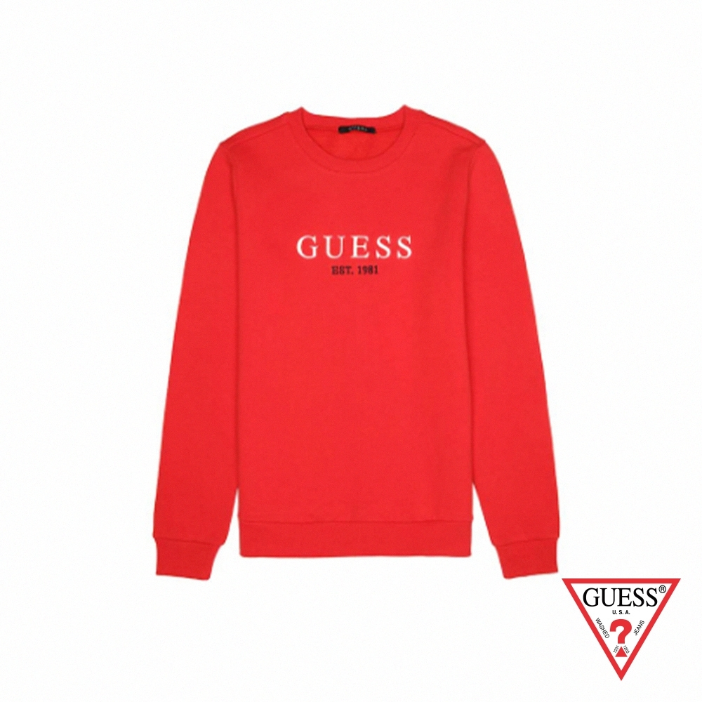 GUESS-男裝-純色字母LOGO長袖上衣-紅