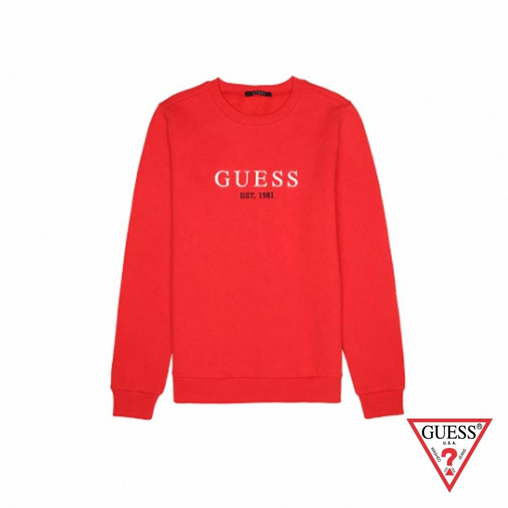 GUESS-女裝-純色字母LOGO長袖上衣-紅