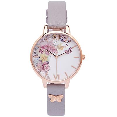 Olivia Burton 蝶飛花叢風的皮革手錶(OB16EG129)-白面/34mm
