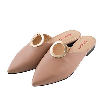 BESO 時髦前線 尖頭立體圓形穆勒鞋~粉