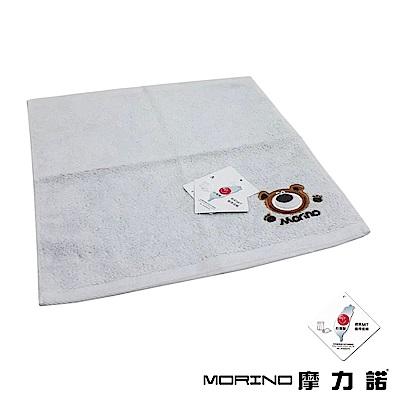 MORINO摩力諾 純棉素色動物刺繡方巾/手帕-淺灰