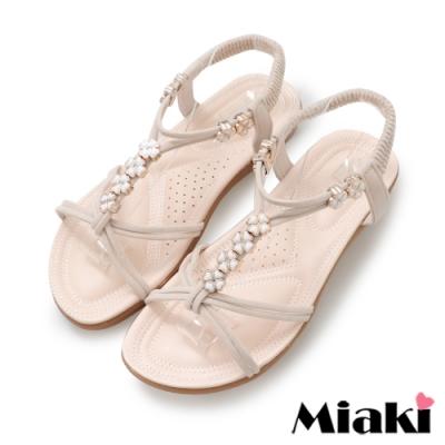 Miaki-涼鞋南洋四葉草平底涼拖-米