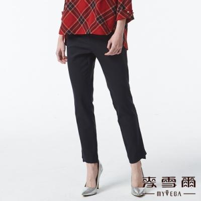 麥雪爾 OL韓風異材質拼接褲頭九分褲-深藍