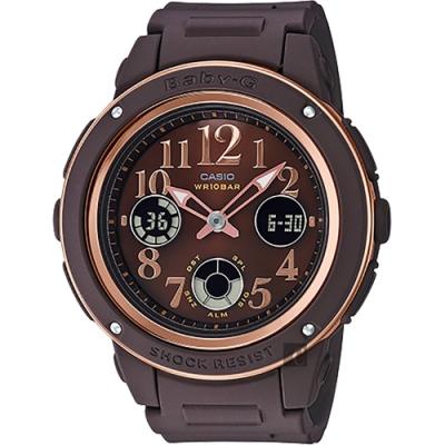 CASIO 卡西歐 BABY-G 秋冬優雅手錶-咖啡(BGA-150PG-5B2)