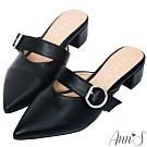 Ann'S稍顯成熟-銀扣寬帶粗跟尖頭穆勒鞋 -黑