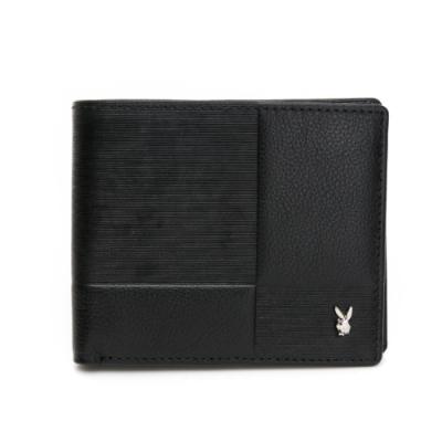 PLAYBOY-  短夾(壓扣零錢袋) Stripe系列-黑色
