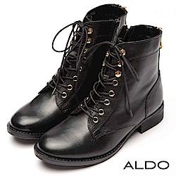 ALDO 原色真皮綁帶金屬拉鍊復古木紋粗跟短靴~尊爵黑色