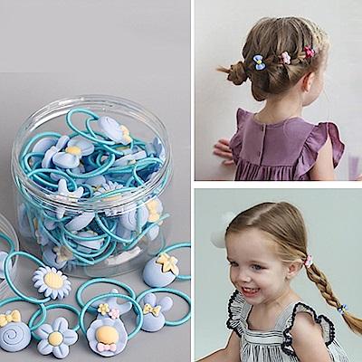 E-dot 可愛童趣造型髮圈髮夾40件盒裝組(藍色)