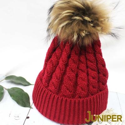 JUNIPER女款防寒真貉子毛球針織翻邊保暖滑雪毛線冬帽