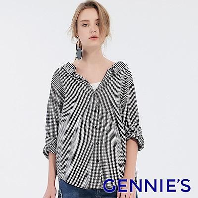 Gennies專櫃-兩穿式抓皺修身排扣格紋襯衫-黑白格(T3F01)