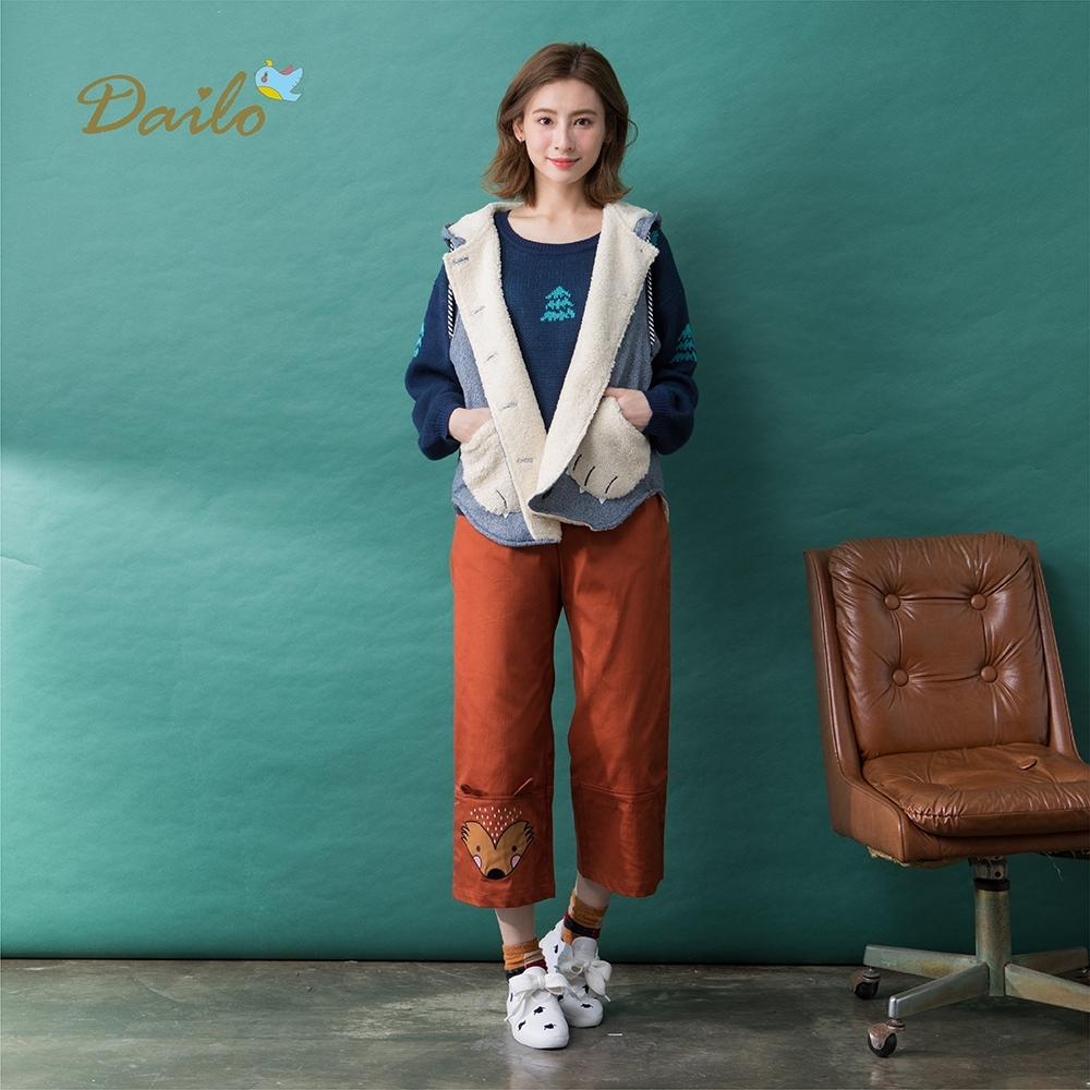 【Dailo】熊掌口袋鋪棉背心-外套(深色/版型適中)