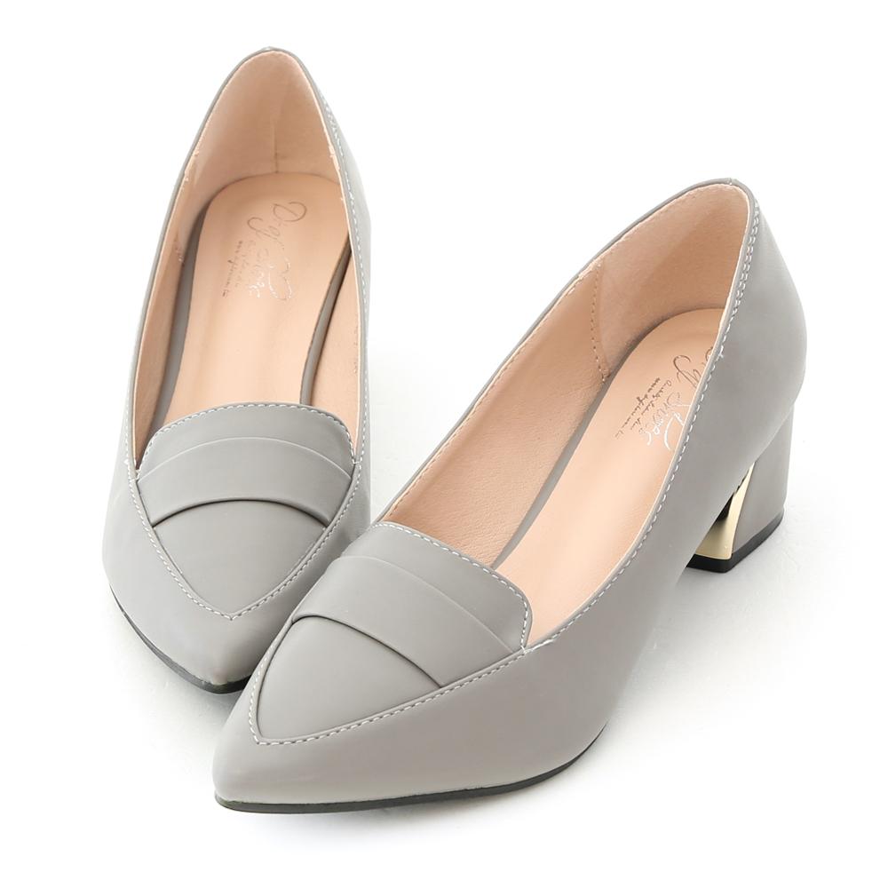 D+AF 知性氣質.經典款金屬跟尖頭跟鞋*灰