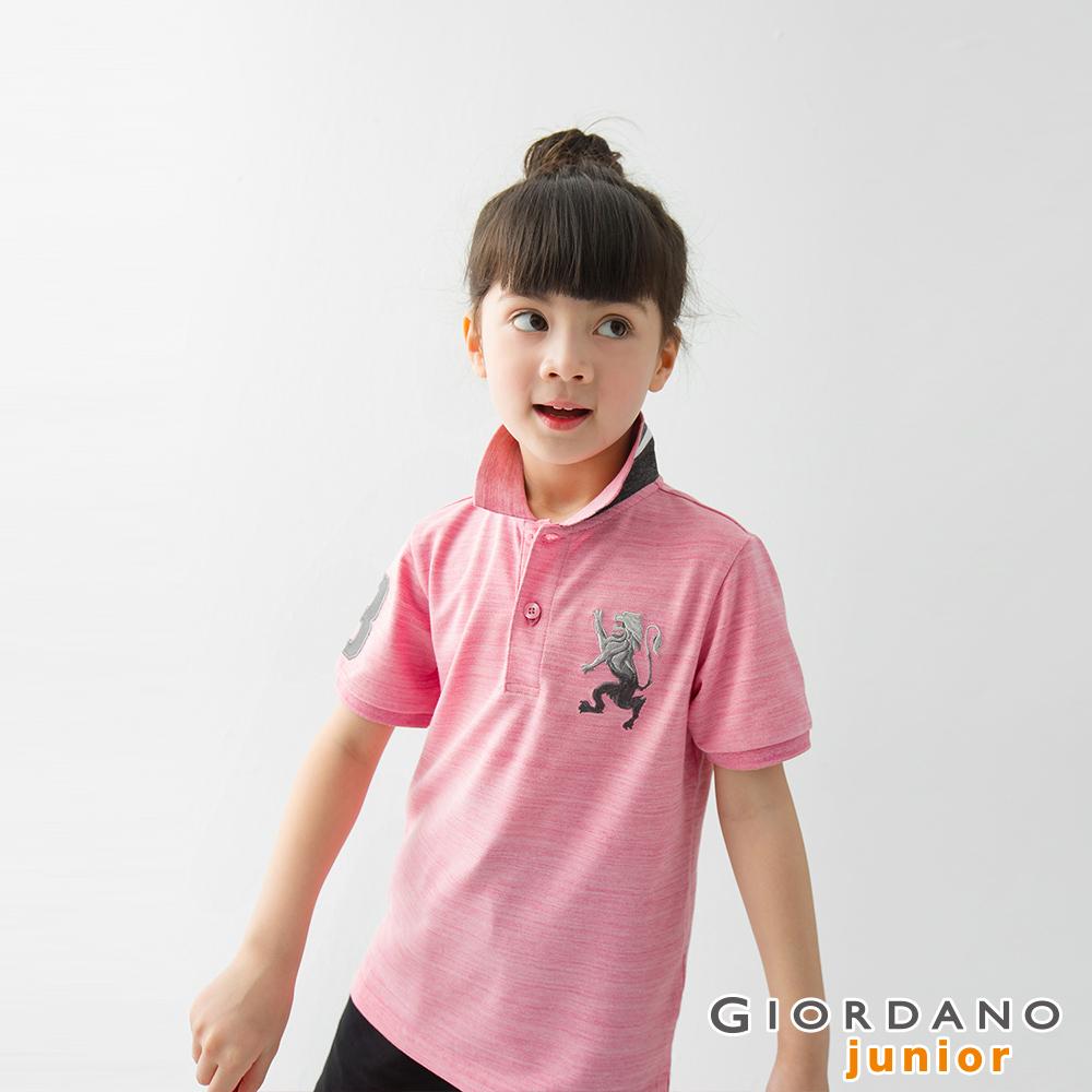 GIORDANO 童裝勝利獅王漸層刺繡彈力萊卡POLO衫-45 粉紅
