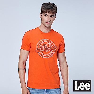 Lee 地球LOGO短袖圓領TEE-橘色