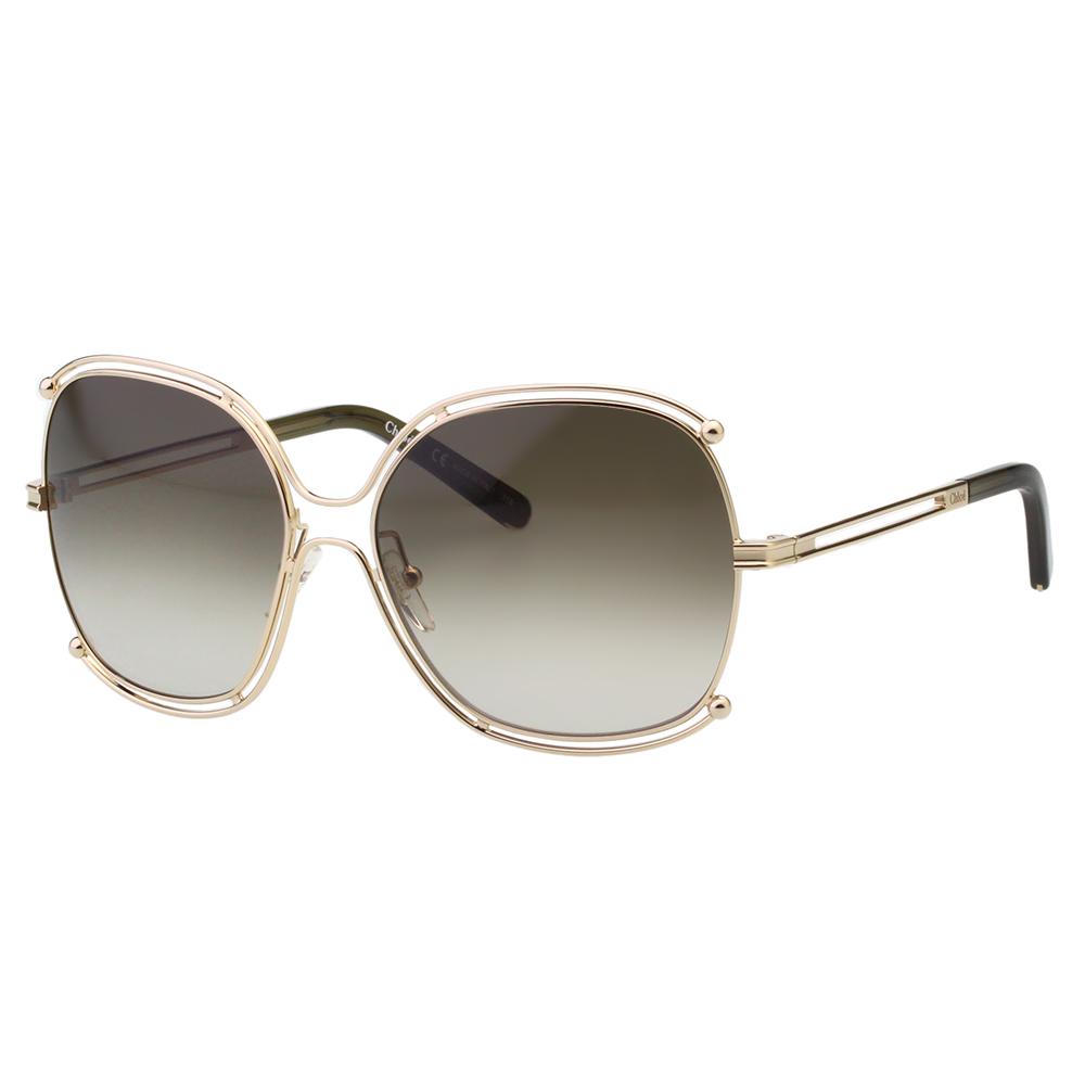CHLOE太陽眼鏡 廣告款方框(金色+咖啡鏡片)CE129S-750