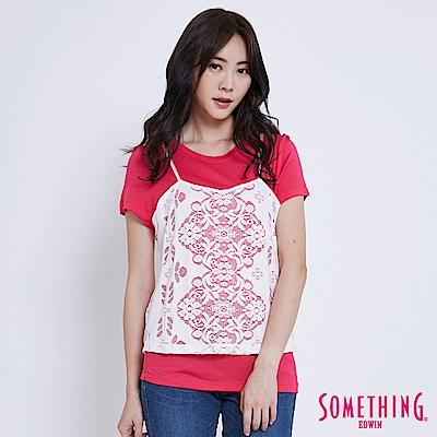 SOMETHING 針織蕾絲假倆件短袖T恤-女-桃紅