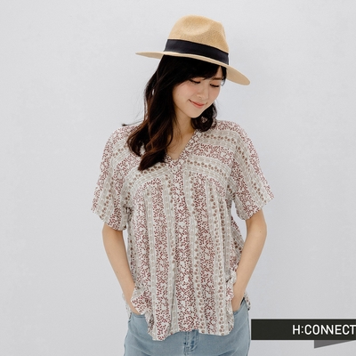 H:CONNECT 韓國品牌 女裝 - 滿版花卉V領襯衫
