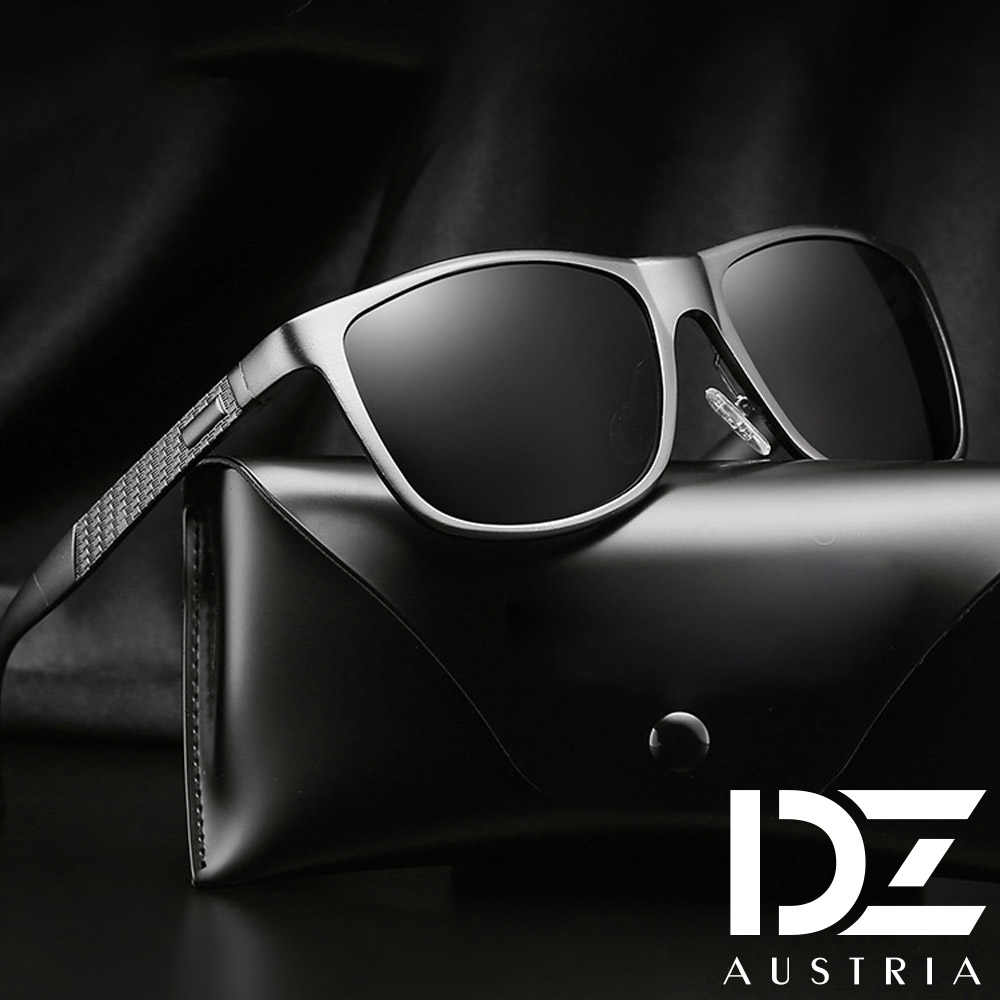 【2件59折】DZ 雅士品味 抗UV 偏光太陽眼鏡墨鏡(黑框灰片)