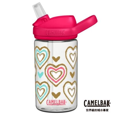 【美國 CamelBak】400ml eddy+兒童吸管運動水瓶 心心相印