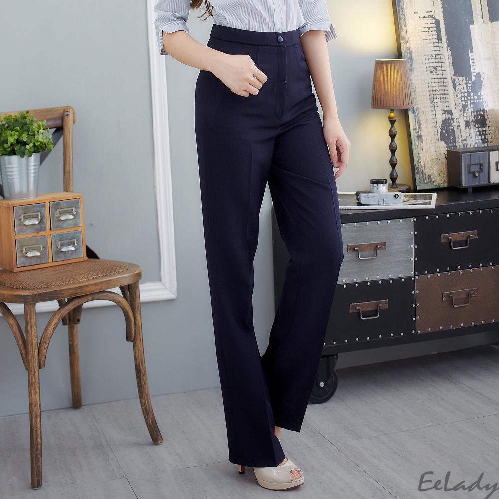 EELADY-台製L型口袋素面修身直筒褲(二色) (藍色系)