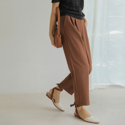 THG 韓版氣質通勤百搭高腰直筒西褲- 咖啡