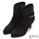 DIANA 妝點奢華--隱隱低調耀眼星空排鑽跟靴-黑