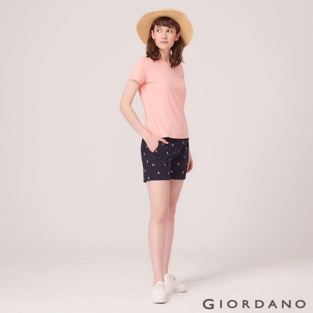 GIORDANO 女裝素色休閒卡其短褲-10 標誌海軍藍