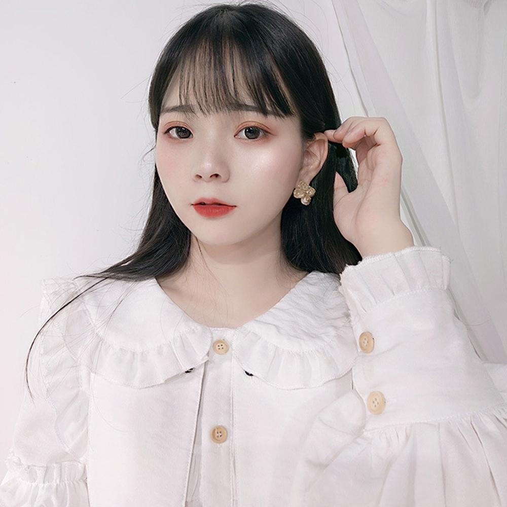 梨花HaNA 韓國925銀IU德魯納酒店貝石四葉草花朵耳環